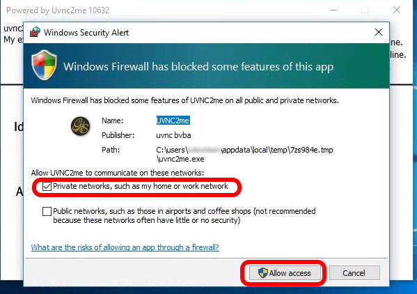Screen shot of the prompt from Windows Firewall