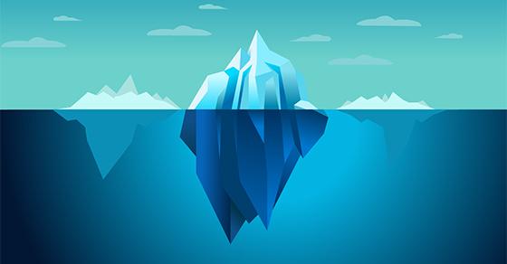 illustration of mostly submerged icebergs