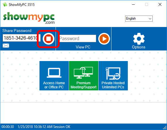 Screen shot of ShowMyPC window with \