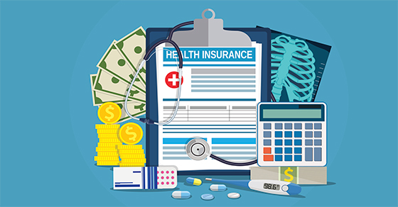 Money, pills, a thermometer, an X-ray, and a health-insurance form on a clipboard