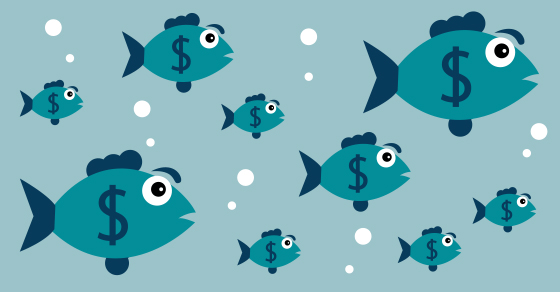 Illustration of fish with dollar signs on them.