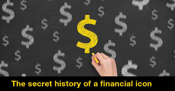 Several U.S. dollar signs drawn on a chalkboard by a right hand