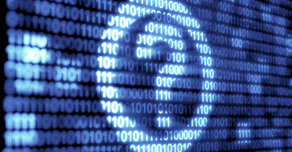 Binary code technology with white and blue