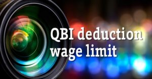"Photo of camera lens with text ""QBI deduction wage limit"""