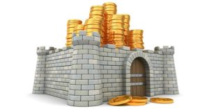 3-D illustration of fortress around pile of golden coins